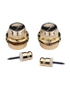 Fender F-style straplocks goud
