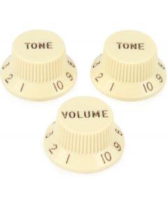 Fender Aged White potmeter knoppen voor linkshandige stratocaster. 2 x tone, 1 x volume